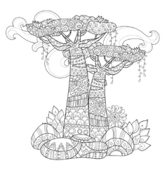 Hand drawn doodle outline tree decorated vector