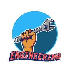 Hand grab wrench engineering badge vector