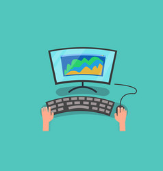 hands using computer with graph of business vector image