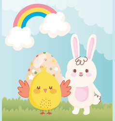 happy easter chicken and rabbit with dotted egg in vector image