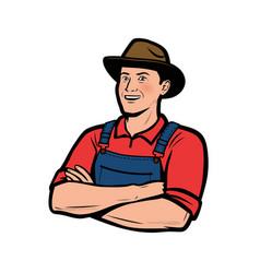 happy farmer logo farming agriculture vector image