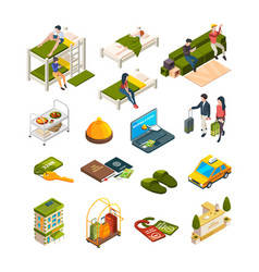 hostel isometric hotel business symbols sofas vector image