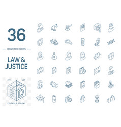 Justice and law isometric line icons 3d vector
