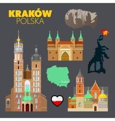 Krakow Poland Travel Doodle with Architecture vector