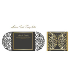 Laser cut gate door fold card wedding invitation vector