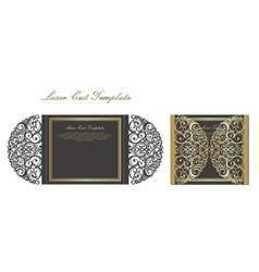 Laser cut gate door fold card wedding invitation vector