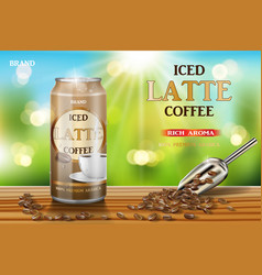 latte coffee aluminum can with milk and beans ads vector image