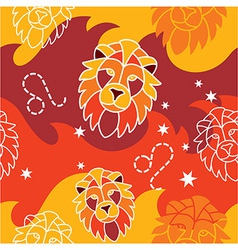 Leo - Zodiac seamless pattern vector image