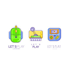 lets play logo design collection video game vector image