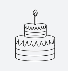 linear cake icon minimal flat style vector image
