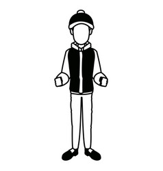 Man with clothes snow hat gloves jacket vector