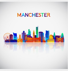 manchester skyline silhouette vector image