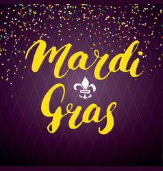 Mardi gras calligraphic lettering typographic vector