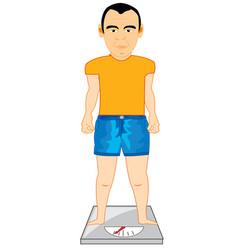 Men on weight measuring weight vector
