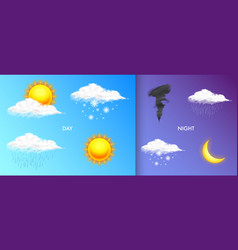 modern realistic weather icons set meteorology vector image