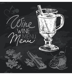 Mulled wine hand drawn chalkboard design set vector