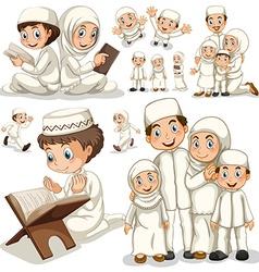 Muslim family in different actions vector