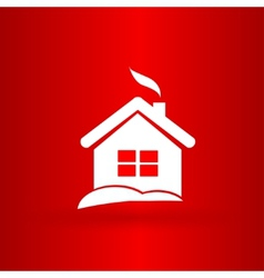 Nice Christmas house on the red background vector image