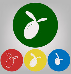 olive sign 4 white styles of vector image