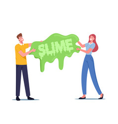 People having fun making slime concept cheerful vector