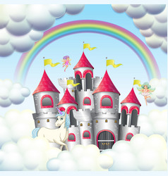 Pink castle in clouds vector