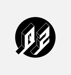 Q and z - monogram or logotype isometric 3d font vector