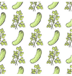 ripe cucumber and leafy parsley endless texture vector image