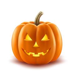 Scary pumpkin halloween lantern realistic vector