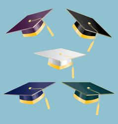 Set 5 graduation student hats vector