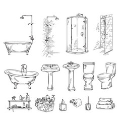 Set bathroom objects bathtub shover sink vector