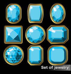 Set blue gems aquamarine various shapes vector