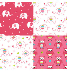 Set of baby cute seamless patterns vector