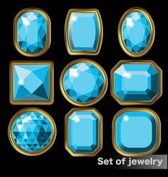 Set of blue gems aquamarine of various shapes vector
