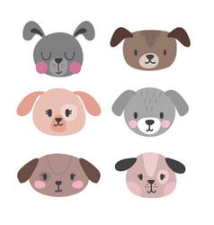 Set of cute dogs funny doodle animals puppies in vector