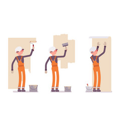 set of male worker in orange overall working with vector image