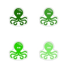 Set of paper stickers on white background octopus vector