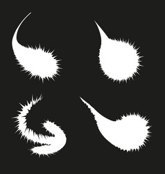 set of white blots on black background vector image
