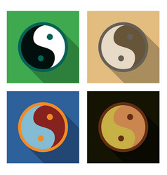 set of ying yang symbol of harmony and balance vector image