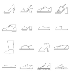 Shoes icons set thin line style vector