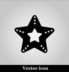 Single starfish icon on grey background vector image