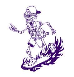skeleton skateboarder mascot with sign vector image