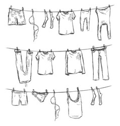sketch laundry on a rope vector image