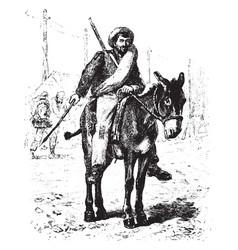 Soldier on mule vintage vector