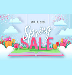 Spring big sale poster with full blossom tulips vector