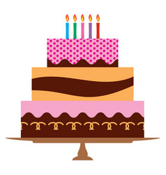 sweet birthday cake with five burning candles vector image