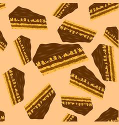 Sweet chocolate cake seamless pattern vector