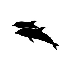 two jumping short-beaked common dolphins icon vector image