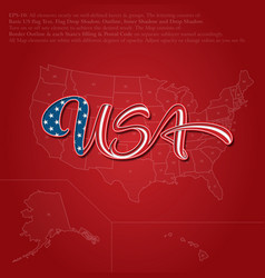 USA flag calligraphic lettering over map vector