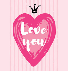 valentine s day card love design with heart quote vector image