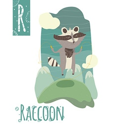 vertical of raccoon jumping with skipping rope on vector image